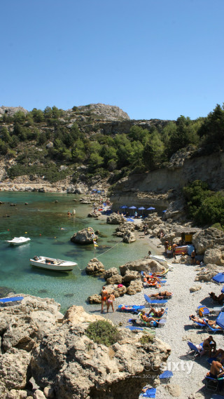 Location Galaxias the famous Anthony Quinn beach on Rhodes Island