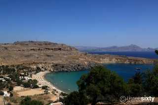 Location Galaxias the beautiful organized Lindos Beach on Rhodes Island