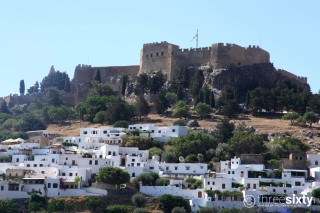 Location Galaxias the Greek monument of Lindos Castle on Rhodes Island