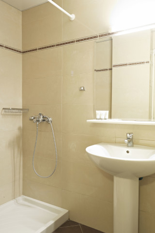 Standard Room Galaxias Shower and sink in the private bathroom