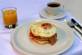 gallery galaxias hotel restautant offers fresh eggs for breakfast along with orange juice, and coffee