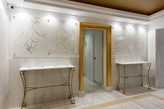 gallery galaxias hotel's interior area, elevator and unique decoration elements
